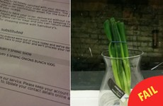 This woman ordered spring flowers and the supermarket sent spring onions instead