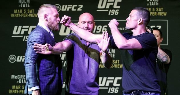 It almost kicked off between McGregor and Diaz tonight in Vegas