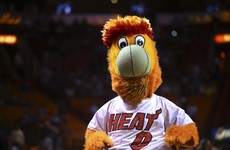 Absolute carnage as Miami Heat mascot does his best 'Keane on Haaland' impression