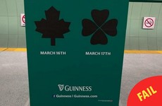 Guinness got the shamrock wrong on their Paddy's Day ads in Toronto