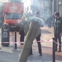 Would you have survived? This smoking 'rocket' stopped people in their tracks in Dublin today