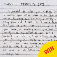 This touching St Patrick's Day note is a beautiful random act of kindness