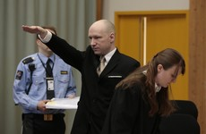 Mass murderer Anders Breivik makes Nazi salute as he appears in court