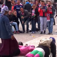 New footage shows PSV fans forcing beggars to do press-ups for small change
