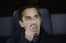 Gary Neville sent off as Valencia bow out of Europa League