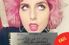 This waitress with pink hair didn't get a tip because she wasn't 'normal looking'