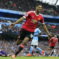Marcus Rashford's stunning rise continues as he makes Manchester derby history