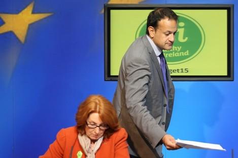 Kathleen Lynch and Leo Varadkar at a press conference (File photo)