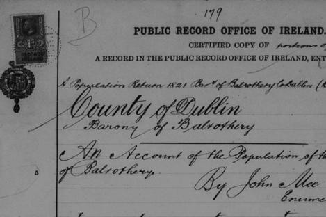A clipping from a census of Bowhill, Balrothery in Dublin - way back in 1821