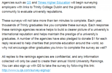 Trinity accused of breaking university ranking rules after asking graduates to complete survey