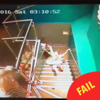 This gal's strangely graceful nightclub fall is going viral on Facebook