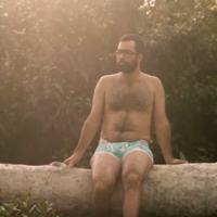 This body positive underwear ad features regular men in all their dadbod glory