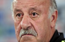 Spanish coach Vicente del Bosque was absolutely laid out by the linesman last night