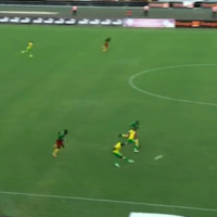 South Africa midfielder with a truly sensational goal from inside his own half