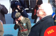 An army officer was caught rapid chatting on his phone during the 1916 commemoration
