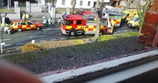 A Garda bike and an ambulance have crashed into each other in Dublin