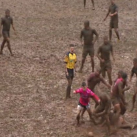 Torrential rain turned this Welsh cup quarter-final into a complete mud bath