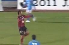 Watch a Japanese footballer score a header from 58 yards