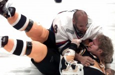 A Swedish hockey player scored a goal, hugged his opponent, and got punched