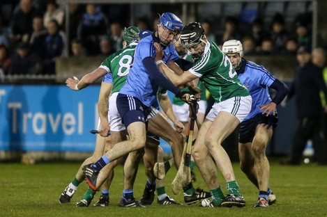 Limeirck and Dublin players battling for the ball last night in Parnell Park.