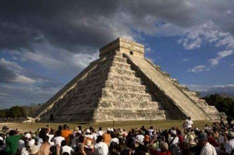 The Kukulkan Pyramid in Chichen Itza, Mexico, is a Mayan temple and demonstrates their grasp of astronomical and mathematical principles.