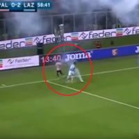 Ref stops Serie A match after Italy international Candreva has near miss with exploding flare