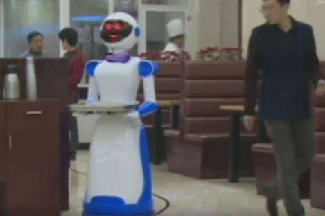 A robot waiter at a fast-food restaurant in China