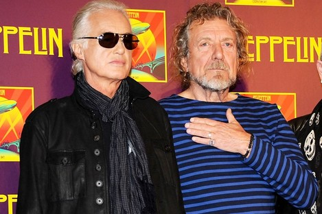 File Photo: Members of Led Zeppelin, guitarist Jimmy Page, left, and singer Robert Plant