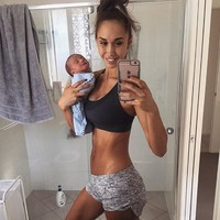 A fitness blogger sparked uproar when she posted this selfie with her newborn baby