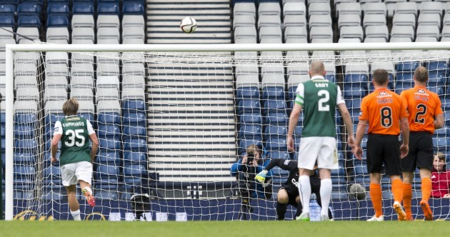 Hibs striker left red faced as Panenka penalty goes horribly wrong in Scottish Cup semi