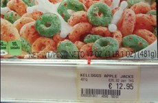 A box of Kellogg's cereal has been spotted on sale for €13 in Dublin
