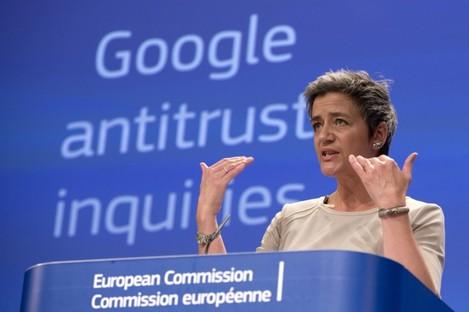 EU competition chief Margrethe Vestager speaks during a media conference regarding Google.