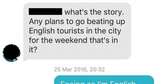 This Tinder chat between an Irish lad and an English girl turned spectacularly awkward