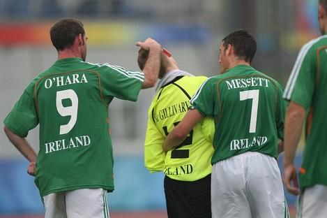 O'Hara and team mates during the Ireland / Iran match at the Beijing Paralympic Games 2008.