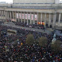 20,000 people gather in Liverpool and sing hair-raising rendition of 'You'll Never Walk Alone'