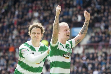Celtic's Leigh Griffiths (right) has been voted Scotland's player of the year.