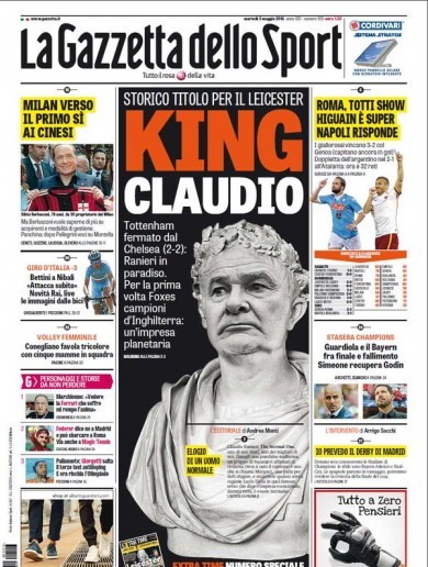 Ranieri as Julius Caesar and how front pages around the world covered Leicester's title win