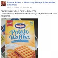 Irish people have been reporting 'sightings' of potato waffles across Australia