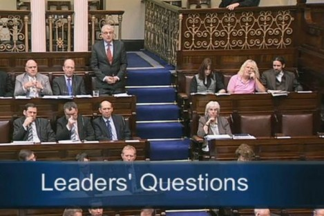 Luke 'Ming' Flanagan (top right) wearing the hemp suit in the Dáil this morning
