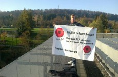 English Defence League in FIFA HQ rooftop protest