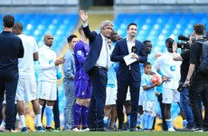 Pellegrini gave his farewell speech to a near-empty stadium after fans poured out of the Etihad