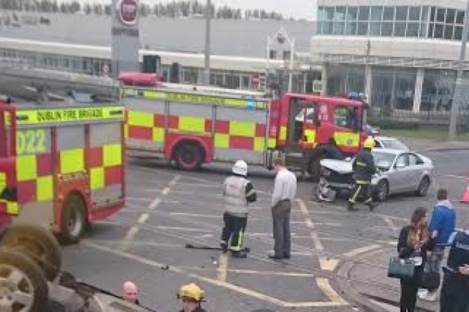 Scene of the crash on the Naas Road in Dublin this evening.