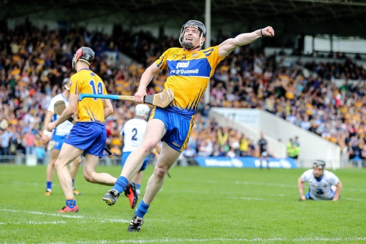 Tony Kelly celebrating his goal for Clare against Waterford last Sunday.