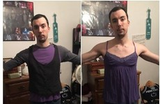 This guy tried on his girlfriend's clothes to make a point about women's sizing
