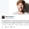Mark Hamill wished Domhnall Gleeson a happy birthday on Twitter... on the wrong day