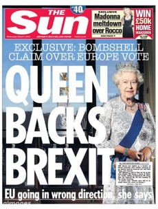 "The Sun defends ""significantly misleading"" front page about Queen backing Brexit"