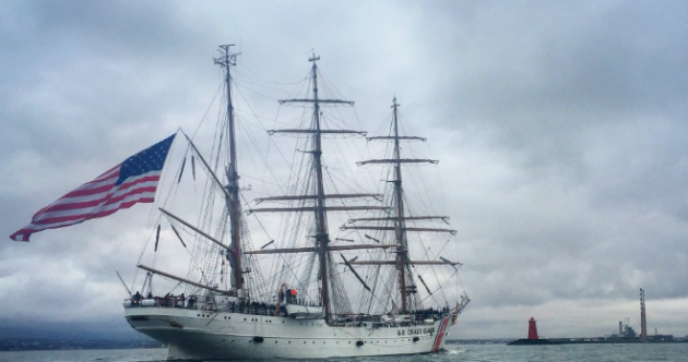 Pictures: US Coast Guard tall ship docks safely in Dublin after 'man overboard' drama