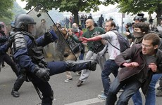 Violent protests in Paris see police fire tear gas just two weeks ahead of Euro 2016