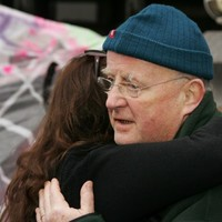 Christy Moore visits the Occupy Dame St camp