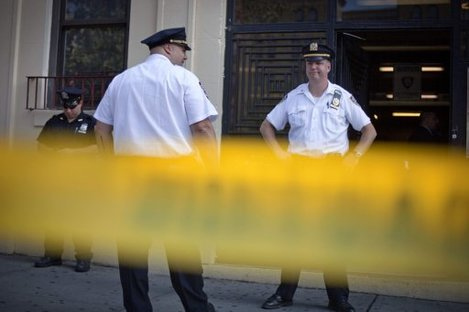 Police outside the NYC building where Mercado was found dead.